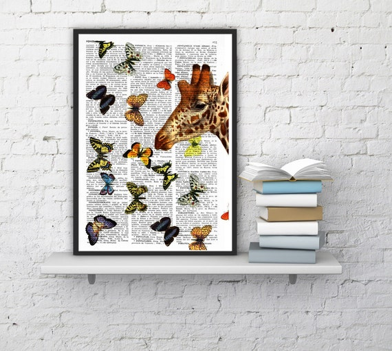 Springtime GIRAFFE with butterflies, Wall art, Wall decor,   Vintage Book sheet, Nursery, Prints  ANI007
