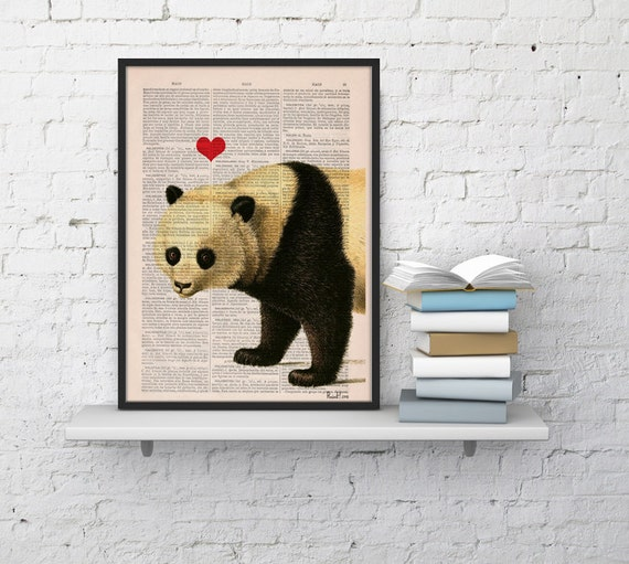 Panda bear in love with Red Heart perfect for Christmas gifts ANI228b