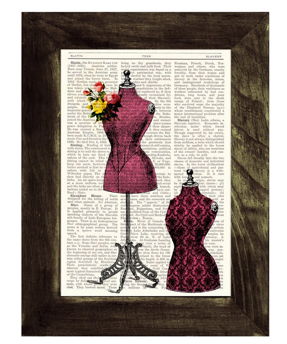 Upcycled book Victorian dress form collage Vintage Book Print Dictionary Page Dictionary Book art TVH107