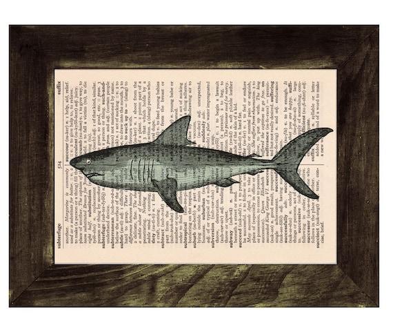 Christmas gifts Vintage Book Print Dictionary or Encyclopedia Page Book print Mackerel Shark Print on Vintage Dictionary art SEA088