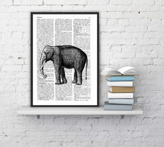 Christmas gifts for her Elephant, Wall art, Wall decor,   Vintage Book sheet, Nursery wall art, Prints, Elephant prints,  ANI085