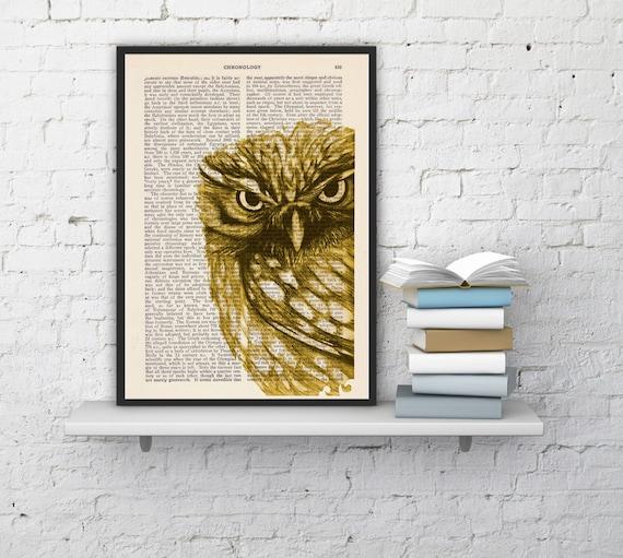 Christmas gifts for her Yellow Owl, Wall art, Wall decor,   Vintage Book sheet, Nursery wall art, Prints, Wholesale ANI018