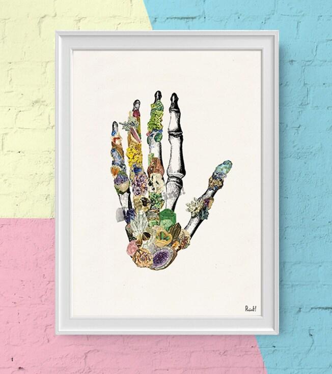 Cyber Monday Sale Human Hand Bones With Minerals Anatomy Art
