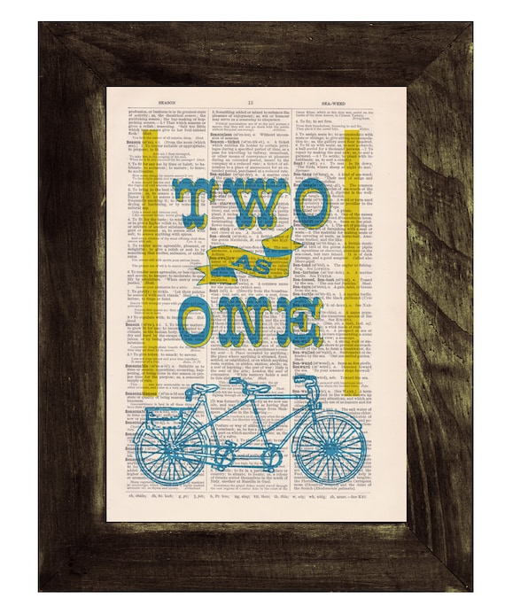 Black Friday Sale dictionary Print, Tandem Bike collage, Two as one love collage, Love quote,  Print on Vintage Book page, TVH118