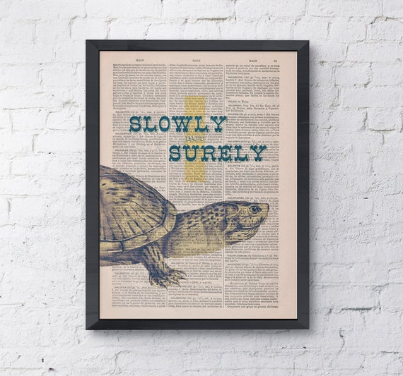 Christmas gifts for her Quote Be like turtles, Wall art, Wall decor,   Vintage Book sheet, Nursery wall art, Prints, Gift,  ANI142