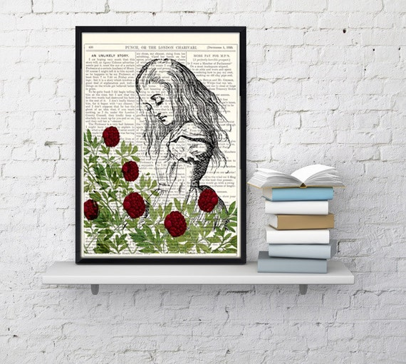 Christmas gifts for her Alice in Wonderland Dictionary Book Print Garden Collage Print on Vintage Dictionary Book art ALW027