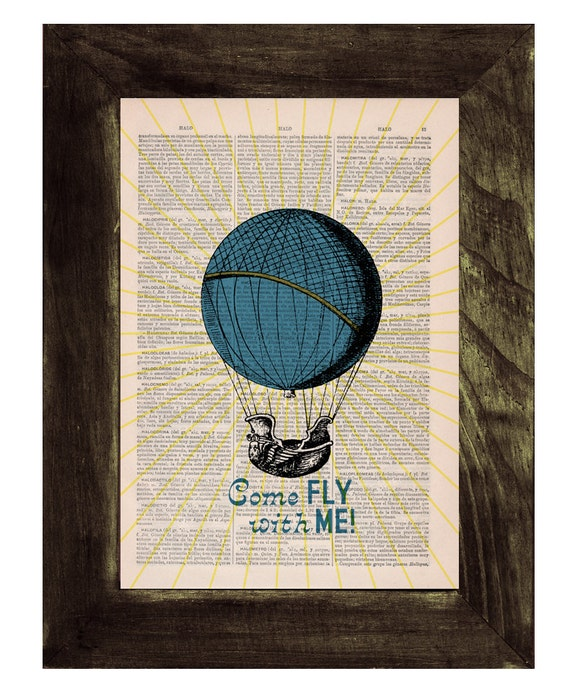 Come fly with me, Wall art, Hot air balloon collage Printed, Vintage Book,  Gift, Wall rt, Wall decor,  TVH121