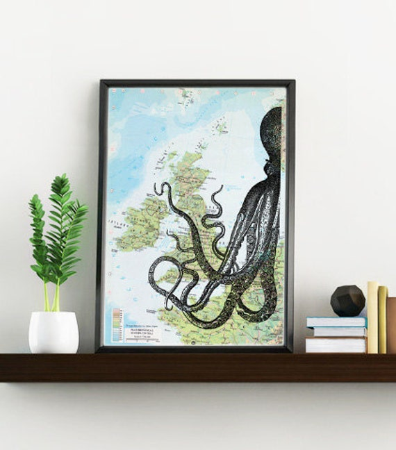 Decorative art original Map half octopus Print over original map Print on vintage original map, Old map print SEA081