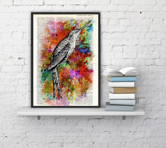 Watercolor hummingbird    hummingbird poster , wall decor, hanging art original  ANI108