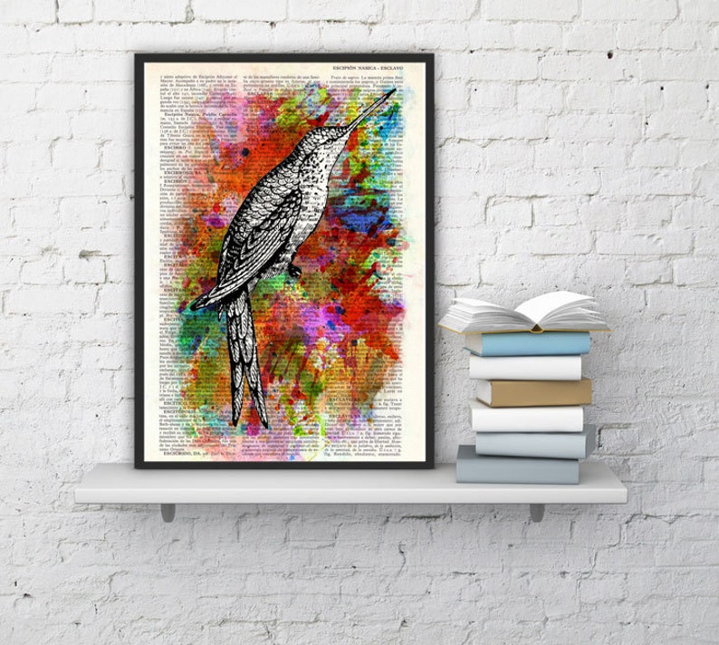 Hummingbird Collage water color Print on Vintage Dictionary image 0