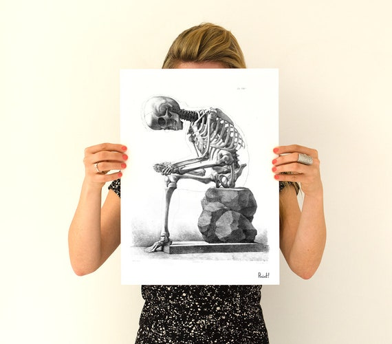 Sitting and Thinking Skeleton Anatomy poster SKA010WA4