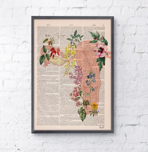 Uterus Flowery collage -Woman gift - Medicine student gift art, Anatomical home decor, Pregnancy gift SKA111