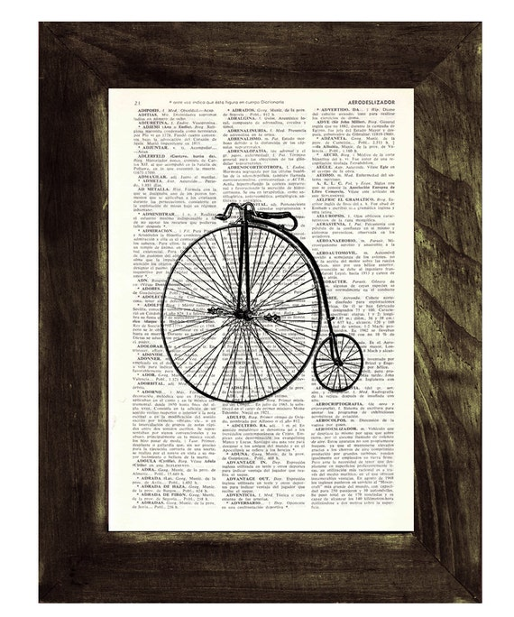 Dictionary Page Art  Old Bicycle collage Print on Vintage Dictionary page TVH002