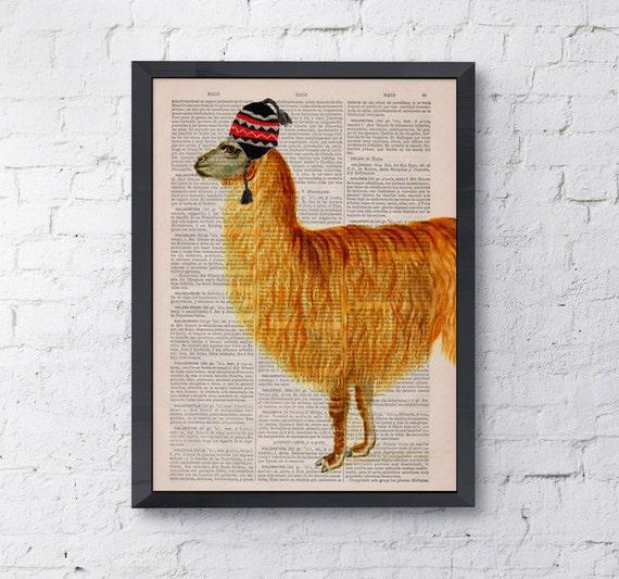 Traveler  llama, LLama, Wall art, Wall decor, Digital prints animal, Giclée, Vintage Book sheet, Nursery wall art, Prints, Wholesale BPAN167