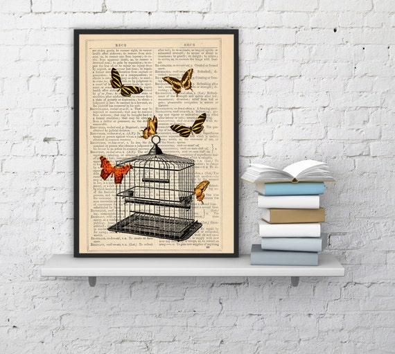Release the Butterflies n03 Cage collage Print on Vintage Dictionary  page - book art print BFL015