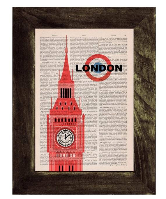 Vintage Book Print - London Big Ben Tower  poster Print on Vintage Book art TVH017