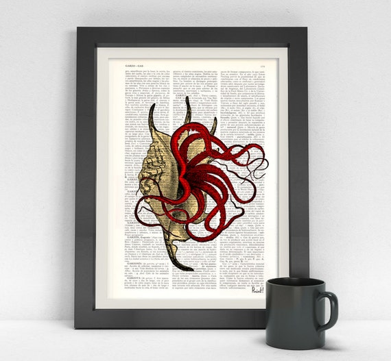 Art Print The squid in the Shell print on Vintage dictionary wall art print beach house wall art, wall decor poster SEA018