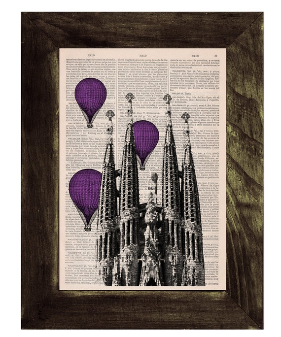 Vintage Book Print - Barcelona Sagrada Familia purple colored Balloons Ride Print on Vintage Book art Gaudi Holy Family BPTV021