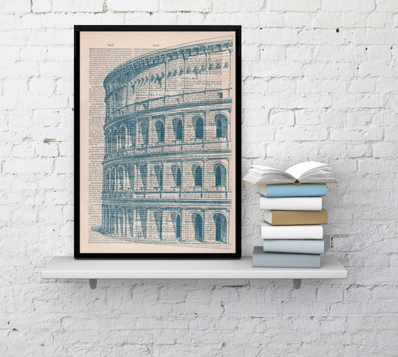 Art print Rome Colosseo detail Print on Vintage Book sheet. Wall art European city wall hanging  TVH042