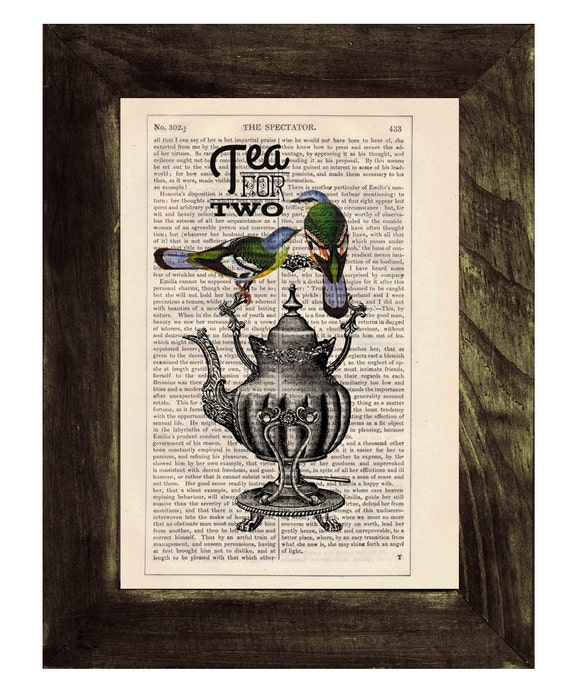 Black Friday Sale Dictionary print art Tea for two- Wall art collage-  Upcycled book page Art Dictionary  print- Home decoration BPTQ026