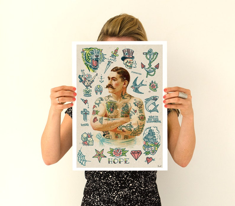 Old school Tattoo inspired design decor Tattoo Art Poster | Etsy