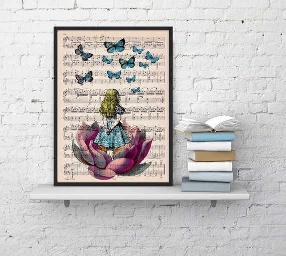 Alice in wonderland looking for a pink butterfly over a music sheet perfect for  MP02b