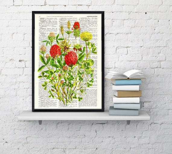 Wild Flowers bouquet book print - Book print page - Upcycled book page wall art book print BFL121