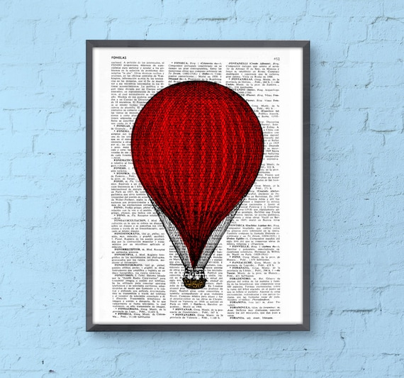 Red Hot Air Balloon Print, Wall art, Wall decor,  Balloon Illustration art decor, Wall hanging nursery art TVH080