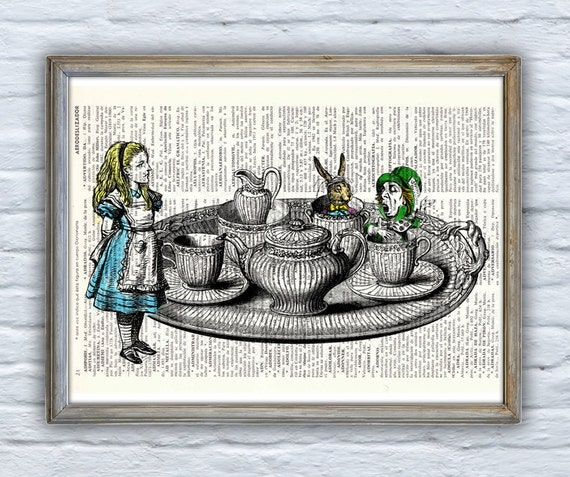 Alice in wonderland - Tea time with friends - Print Dictionary page- Nursery wall art-Giclee print- Unique gift ALW019