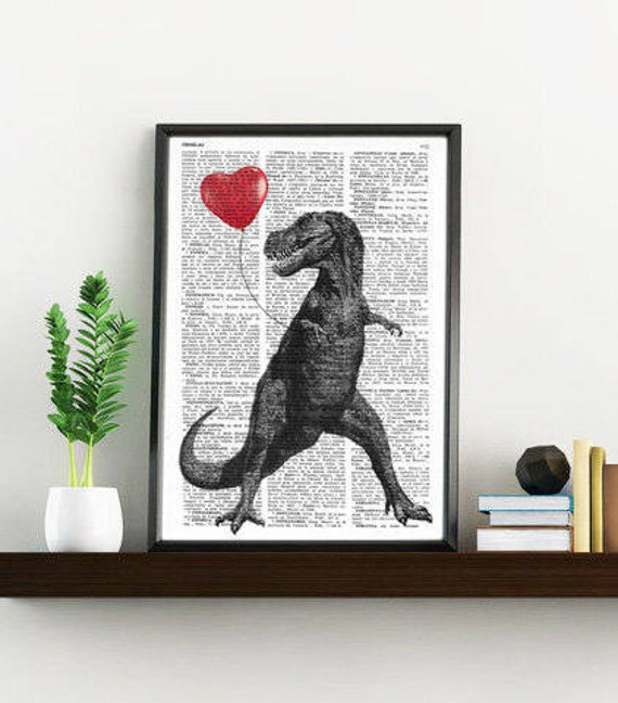 T Rex with a heart shaped red ballon  Print on Vintage Dictionary Book  Altered art on upcycled book pages ANI213