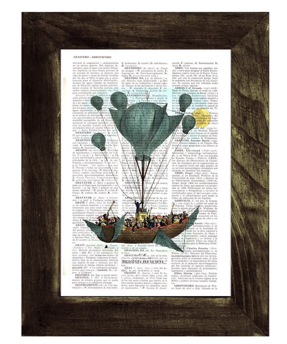 Christmas gifts for her Hot air Balloon Print on Vintage Encyclopedic Dictionary Book,  Wall art, Wall decor, Home decor,  TVH116