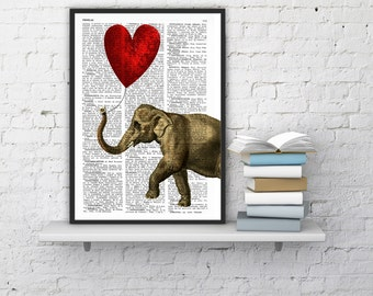 Elephant with a Heart shaped balloon on Vintage dictionary book page perfect for gifts  ANI083b