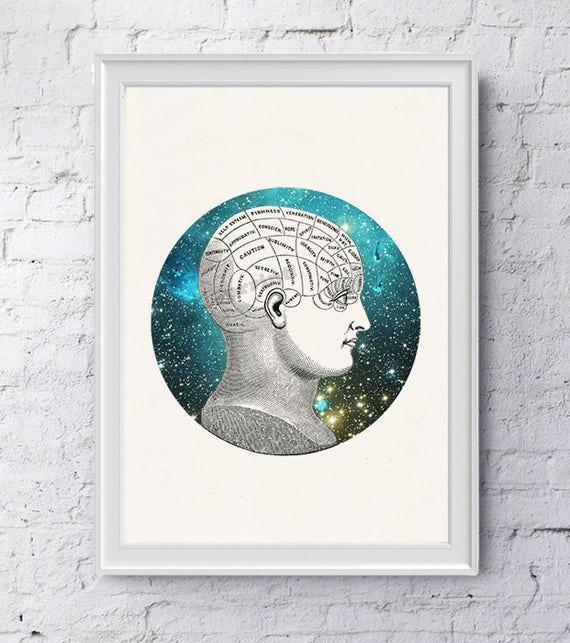 Phrenology Brain Study galactic collage, Anatomy art, Anatomical art, Wall art, Wall decor, Anatomy, Wholesale, Gift for doctor, SKA226WA4