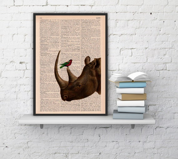 Rhino and his little friend Wall Art Print the best choice for gifts  ANI072b