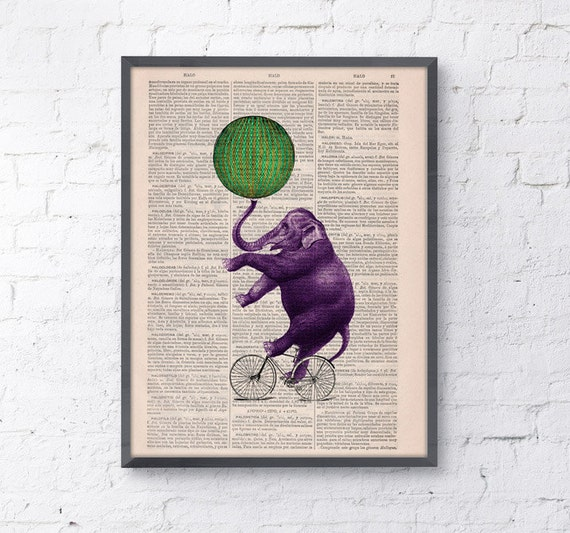 Christmas gifts for her elephant on a bicycle Vintage book print Circus, Print on Vintage Book page- Nursery wall art ANI094