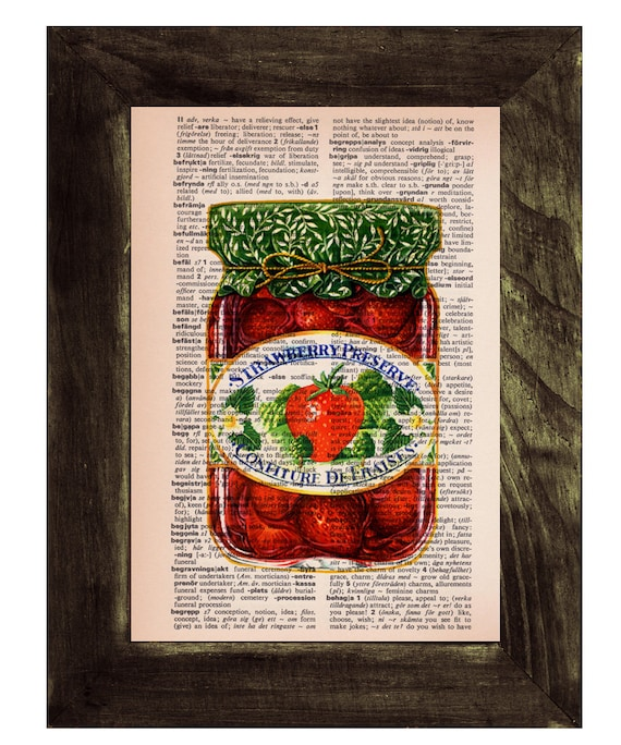 Christmas gifts for her Dictionary book art print Jam Mermelade  Vintage Strawberry Preserve Pot  Print on Old Book art TVH154