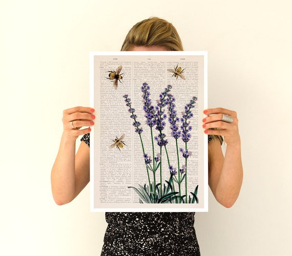 Bees over lavender flowers, Flower art, Eco friendly art, Wall art poster, Wall decor, Lavender flower art, Bees art, Wholesale,  BFL117PA3