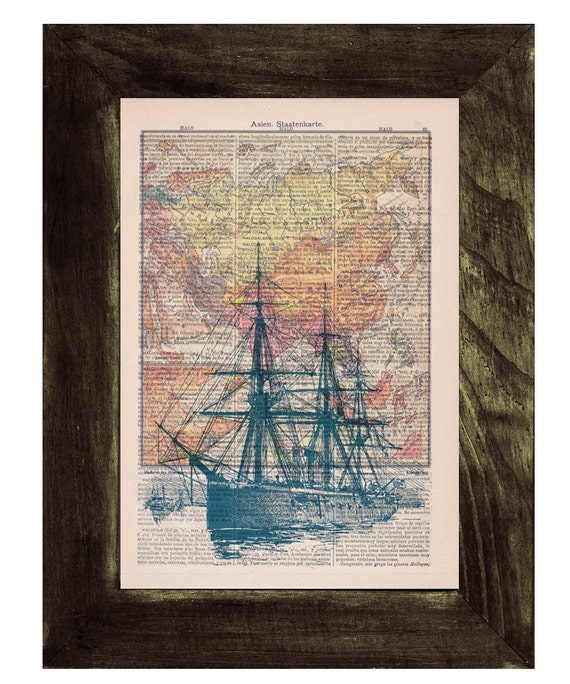 Old ship and vintage map Wall Print on Vintage Encyclopedic Dictionary Book page the best choice for Christmas gifts SEA091
