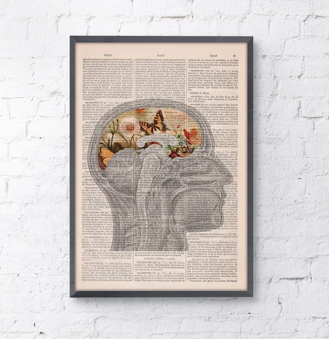 Butterflies Brain collage Printed on Dictionary Book page. Wall ...