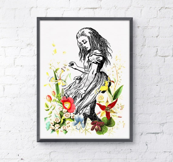 Alice in wonderland wall decor  Alice dancing with wild flowers, nursery art.poster print giclee print art ALW001WA4