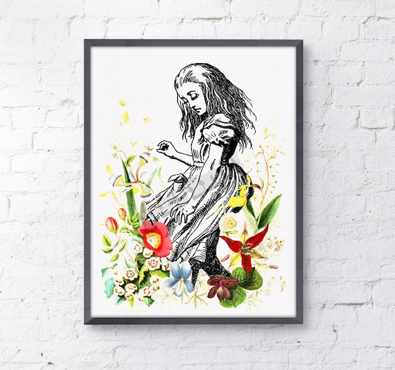 Alice in wonderland wall decor - Alice dancing with wild flowers, nursery art.poster print giclee print art ALW001WA4