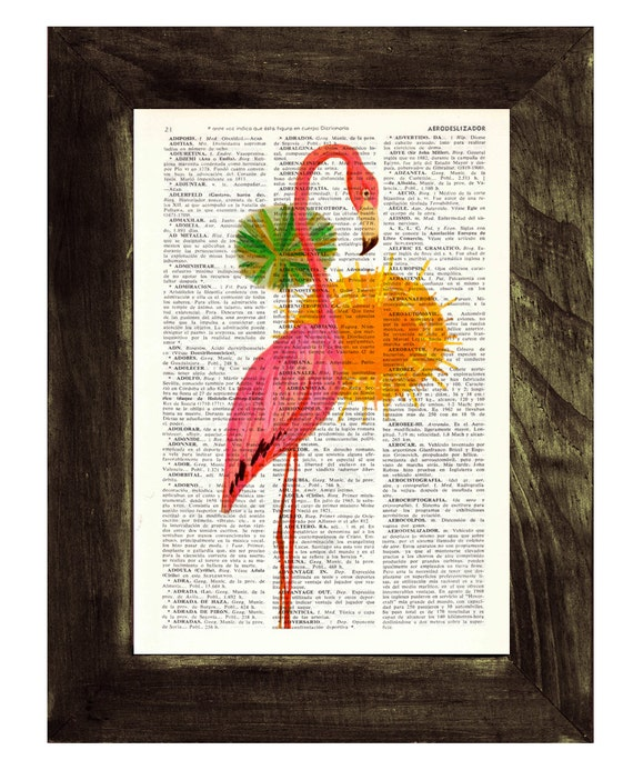 Pink Flamingo, Wall art, Wall decor,   Vintage Book sheet, Nursery wall art, Prints, Flamingo prints,  ANI176