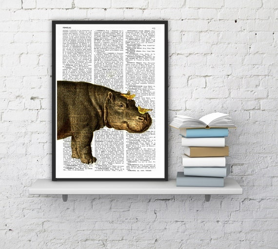 gift Wall decor Hippo and Yellow birds Print altered art on upcycled book pages wall art hippoputamus home decor Gift ANI014