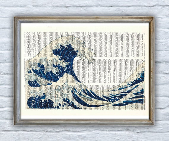Hokusai's Japanese great wave printed on bookpage perfect for Christmas gifts SEA001