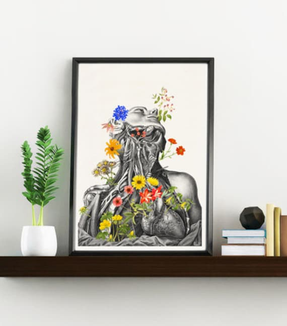 Flowery neck and head anatomy collage home decor  SKA101WA4