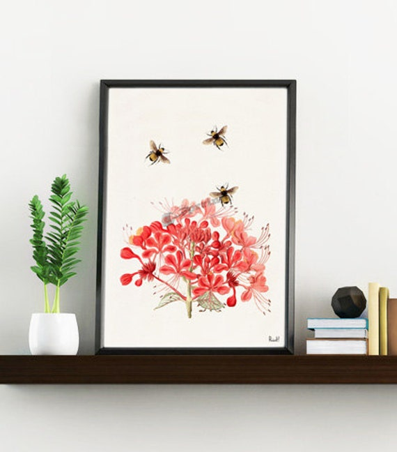 Christmas gifts for mom Bees with Geranium flowers, Wall art decor, Home decor, Print, Poster, Floral art, Bees wall decor BFL001WA4