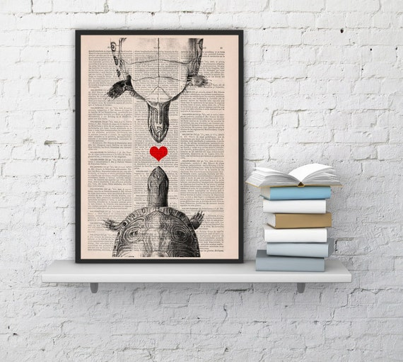 LOVE turtles collage, Wall art, Wall decor, Digital prints animal, Giclée, Vintage Book sheet, Nursery wall art, Prints, Wholesale  ANI144