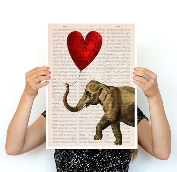 Christmas gifts for mom Elephant with a red heart shaped balloon, Nursery art, Wall decor, Wall art, Animal art decor ANI083PA3