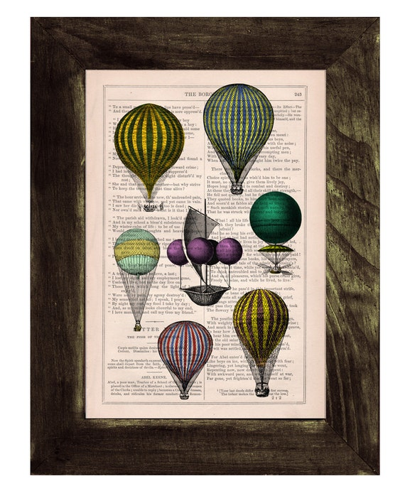 Home decor book print Hot air Balloon exhibition Print on Vintage Book - mixed media art BPTV047