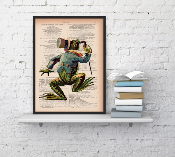 Christmas gifts for her Vintage frog on Dictionary Book Print  Altered art on upcycled book pages ANI177
